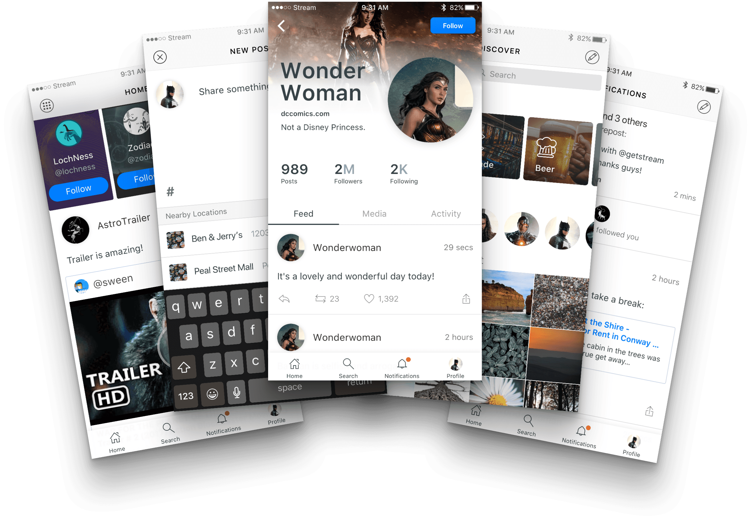 free mobile social network social media ui kit