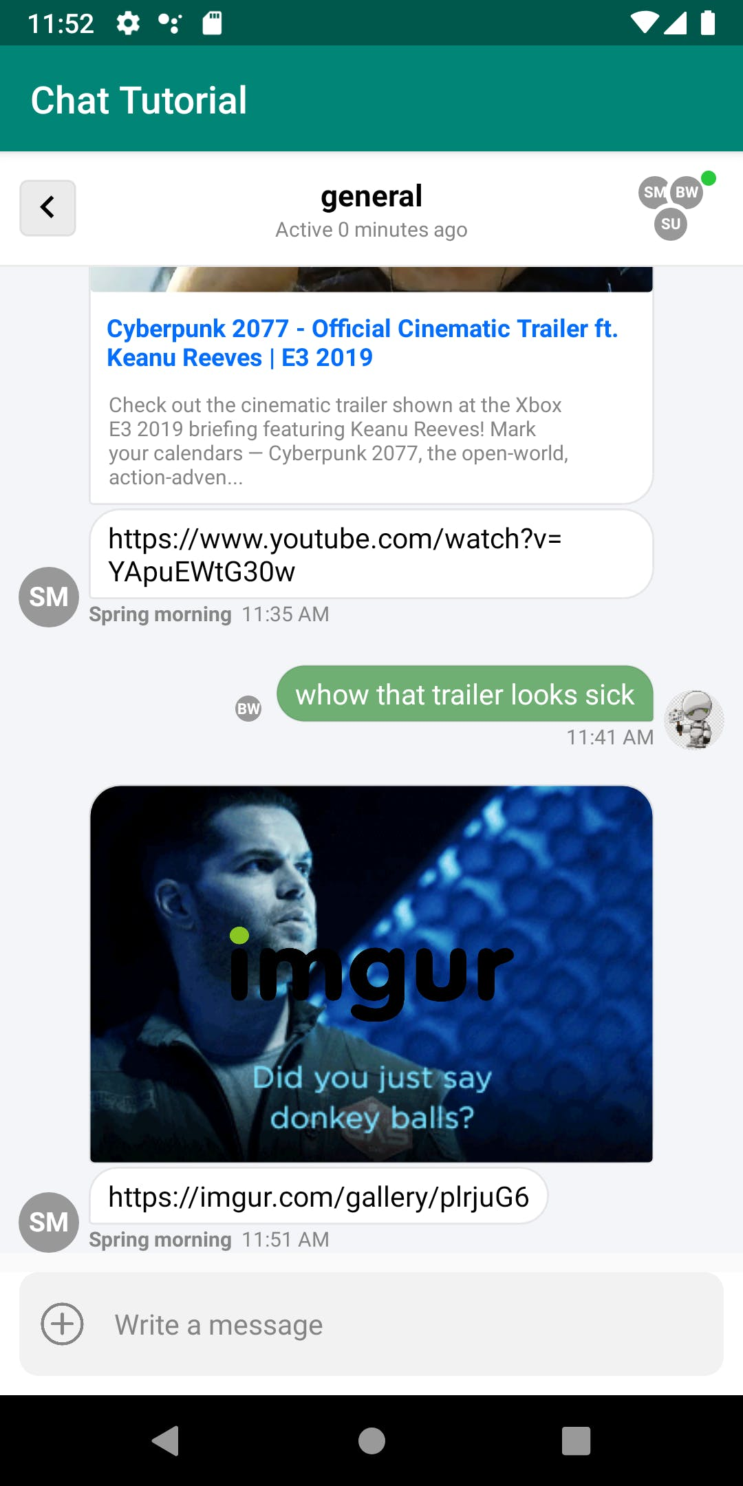 Imgur Logo overlay on the in-app messaging chat interface