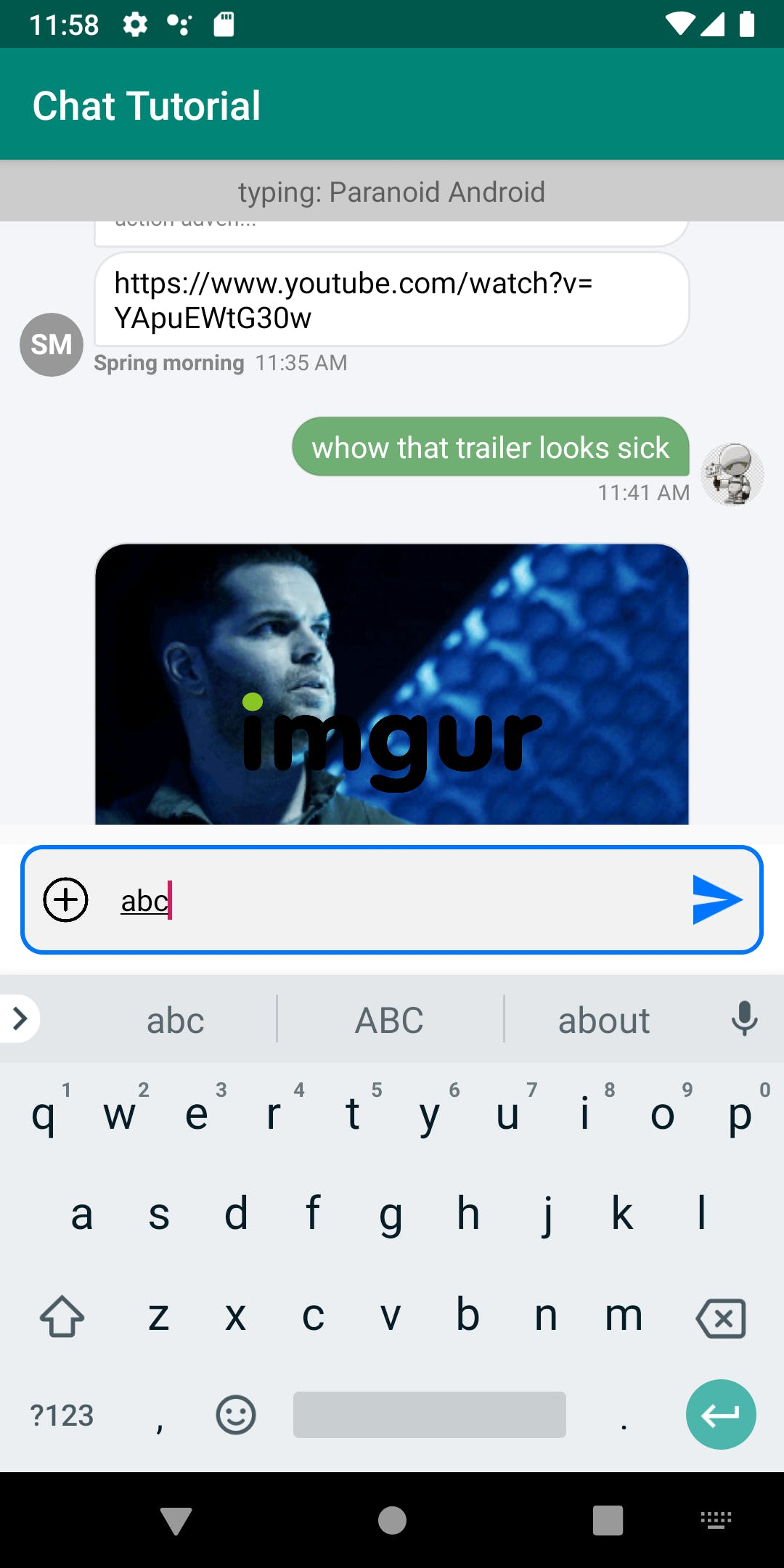 In-app example of typing into an Android messaging window