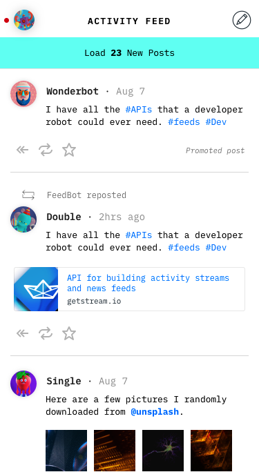 Build activity feeds with React
