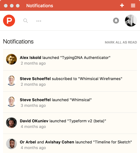 Screenshot of Product Hunt's notification center using the Stream API
