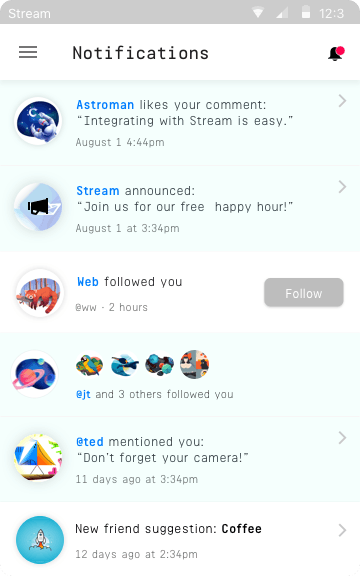 Example social network app showing the stream in their notification center